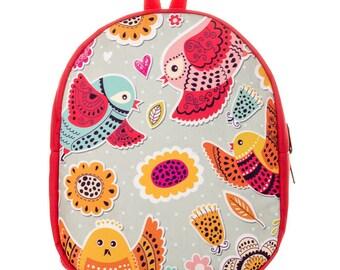 Birds print backpack Toddler backpack Preschool backpack Pink book bag Canvas children backpack