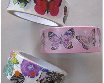 Set of 3 rolls of 250cm adhesive tape - BUTTERFLY