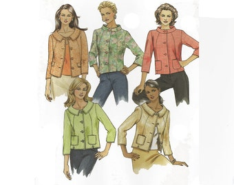 McCalls 5007, Misses Lined Jacket Sewing Pattern, Size 14 to 16, Women Hip Jacket Wide Neckline Button-Front Jacket Pattern PREVIOUSLY CUT