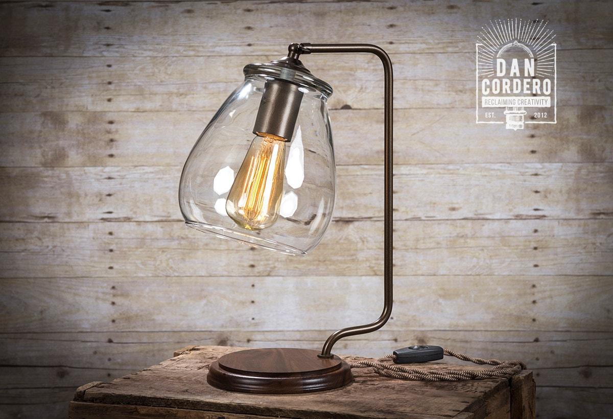 🔎zoom - Glass Shade Edison Bulb Table Lamp Bronze Desk Lamp