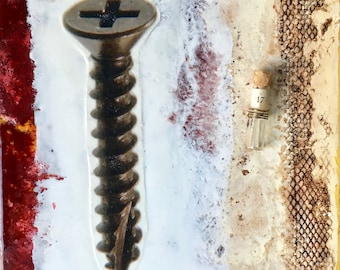 original encaustic painting- the Screw