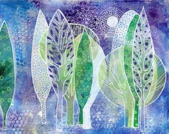 The Purple Forest: Art Print of Original Gelatin Monoprint