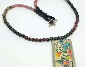 "17"" Gradiated Tourmaline Necklace with Floral Recycled Tin Pendant and Sterling Silver Clasp - Recycled Can Jewelry"