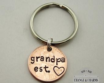 Grandpa Est. Penny Keychain, Grandpa Keychain, Grandpa Gift, Penny Keychain, Grandpa, Penny, Personalized Gift, Custom Keychain, Lucky Penny