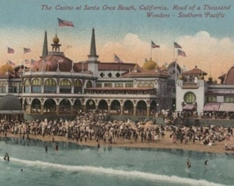 Santa Cruz, CA - Casino and Santa Cruz Beach (Art Prints available in multiple sizes)