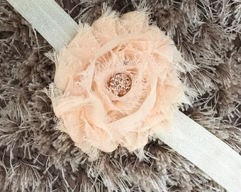 Peach Chiffon Headband, Shabby Chic Newborn Headband, Vintage Style Flower Baby Headband, Shambala Bead Sparkle Newborn Photo Prop