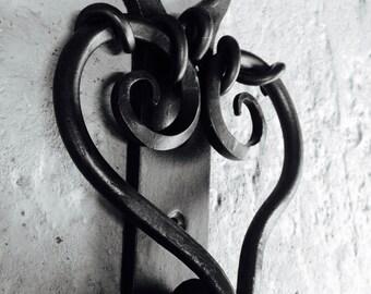 Heart Door Knocker, Heart Topped Decorative Backplate, Blacksmith Made