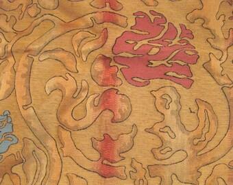 Quadrille Samarcanda Pesca Coral Embroidered Lampas Designer Fabric Sample