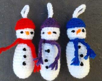 Set of 3 Crochet Christmas Snowman Ornaments / Tree Decorations