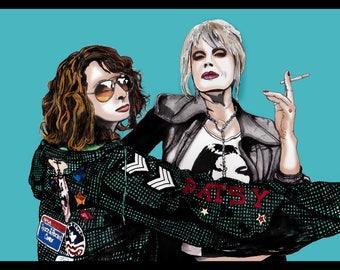 Absolutely  Fabulous Patsy & Eddie illustration Print