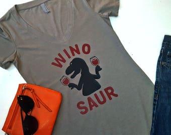 Winosaur Shirt - Wino Saur Women's V Neck Tee - Wine Shirts - Wine Lover's Top - T-Rex Ladies Tshirt - Deep V Neck - Funny Graphic Tee