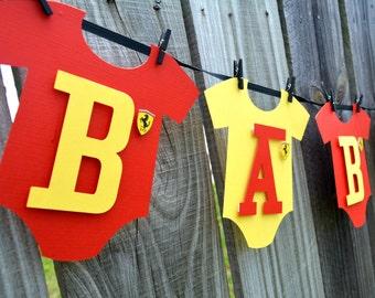 Baby One-Piece Bodysuit Baby Boy or Baby Girl Ferrari Baby Shower Banner,Ferrari Baby Banner, Ferrari Baby Onesie Banner,Ferrari Baby Shower