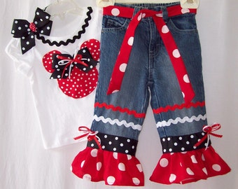 Custom boutique Disney Minnie Mickey Mouse jeans or skirt outfit all sizes avail.