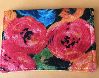 The *BusyBee* Business Card-Gift Card Holder -- Floral, Bright Colors