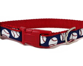 Nylon Buckle Dog Collar - Baseballs - 3/4 Inch