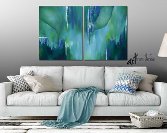 Teal wall art, Large abstract painting Canvas print set, Turquoise, Blue green, Dining room wall decor, Bedroom canvas art Oversized, Office