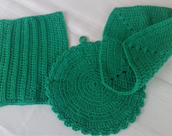cotton crochet dish cloth set,cotton pot holder,green dish rag,crochet hot pad,crochet wash cloth,green pot holder,round pot holder,dish rag