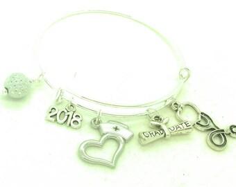Nurse graduation bangle bracelet gift, rn bangle, Lpn bangle, nurse practioner bangle, graduation gift, nurse gift, 2018 nurse graduate gift