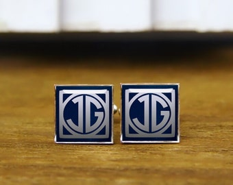 Personalized Mens Cufflinks, custom monogrammed initial cufflinks, custom initial square cufflink & tie clip,square wedding cuff links 1920s