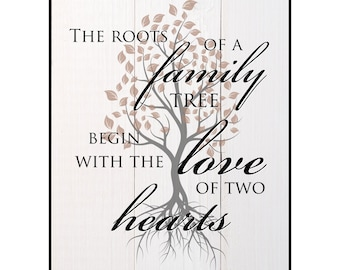 The Roots Of A Family Tree Begin With The Love Of Two Hearts Printed Wood Sign Wall Decor 12x15