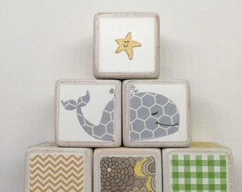 Wooden Baby Block Set - set of 6 - yellow, green and gray - whales and starfish