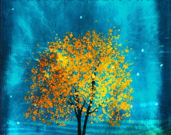 Golden Tree -- Guhm Namu in Korean -- 11x14  Tree Art Print tree art print giclee print,gift,art collectibles,wall art,wall decor,wall decor