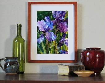 "The Iris Garden - ORIGINAL WATERCOLOR by Linda Henry - 11"" x 14"" - Ready to Frame with a free White Mat (#ES014)"