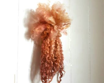 Rose Gold and Copper Teeswater locks  wool for spinning felt dolls hair reroot waldorf hair and Blythe long wool locks