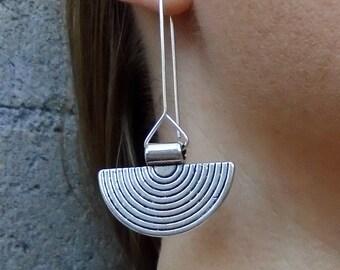 Sterling Silver Disc Moon Spiral Dangle Earrings