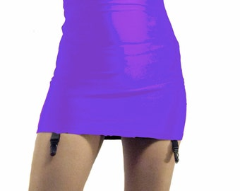 High waisted shiny spandex mini skirt suspenders purple