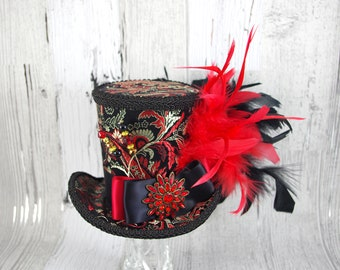 Red, Black, and Tan Damask Empress Collection Large Mini Top Hat Fascinator, Alice in Wonderland, Mad Hatter Tea Party, Derby Hat