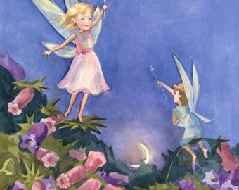 Little Fairies Christmas watercolor painting, Painting, Watercolor