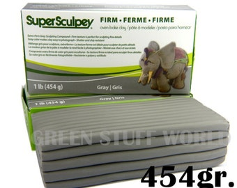 Super Sculpey Grey FIRM - 1 pound (454gr.) - Oven Bake Sculpting Polymer Clay