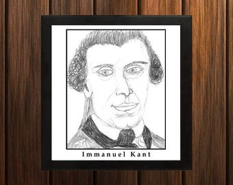 Immanuel Kant - Sketch Print - 8.5x9 inches - Black and White - Pen - Caricature Poster