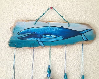 Driftwood wallhanging with whale/ ocean/ seaside design