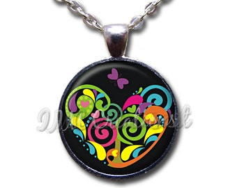 Spiral Heart Love Glass Dome Pendant or with Chain Link Necklace HD197