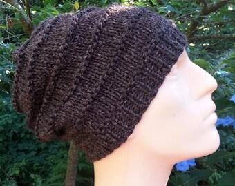 Brown Men's Hat. Slouchy Knit beanie. Wool beanie. Winter hat for man