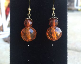 Vintage Amber Crystal Earrings, Vintage Jewelry