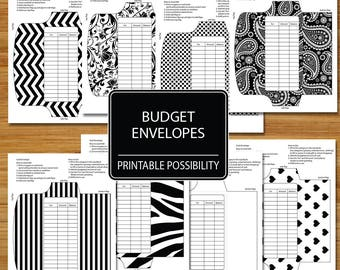 Cash Envelopes Set of 8  - Black and White Set - Budget Envelopes - Budgeting Envelopes - Planning Spending Budgeting Envelope System