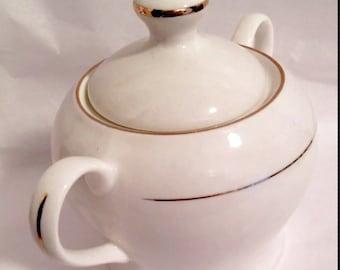Vintage Tangshan Lizhong Ceramics Sugar Dish Bowl White with Silver Trim