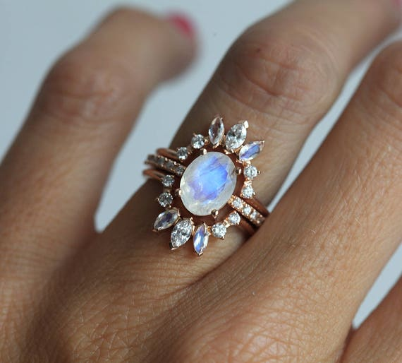 Ice Wedding Ring Set Moonstone Engagement Ring Set of 3