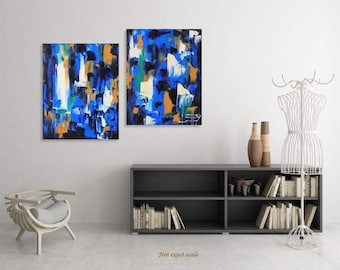 Abstract Painting, Abstract Art, Modern Painting, Contemporary Art, Commission Painting, Textured Art, 36x24, Diptych Painting,Panel Artwork