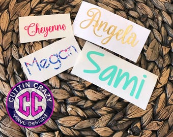 Vinyl Name Decal - Lilly - Glitter - Gold Foil FREE SHIPPING Name Sticker- Monogram Sticker- DIY Monogram Cell phone  Yeti Swell Corkcicle