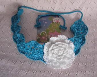 Crochet Summer Headband Crochet Girls Headband, Lace Summer Headband, Crochet Flower Headband, Turquoise Girl Headbands