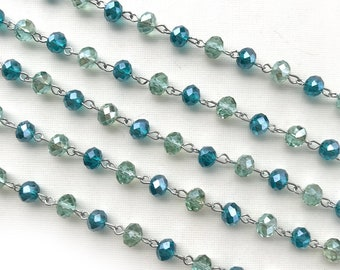 Blue Green Crystal Beaded Chain, Teal Beaded Chain, 8mm Rondelle Crystal, Easy Open Eyepin Silver Chain, 1 Foot, Dry Gulch, Seaside Cove