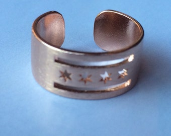 Rose Gold Chicago Flag Ring