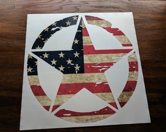 "Jeep Wrangler 20"" Oscar Mike Hood Star Decal Distressed American Flag Print USA"