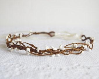 Rustic Circlet, white pip circlet, wedding hair accessories, berry crown, woodland wedding crown, wedding headband, pip crown, - RUSTIC -