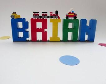 Kids Name Sign - Kids Room Decor Made of Lego® Elements - Lego® Bricks Name Letters Shelf Decor - Birthday Decor