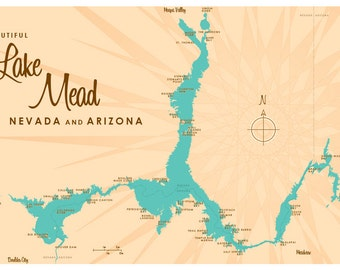 Lake Mead, NV & AZ Map Print
